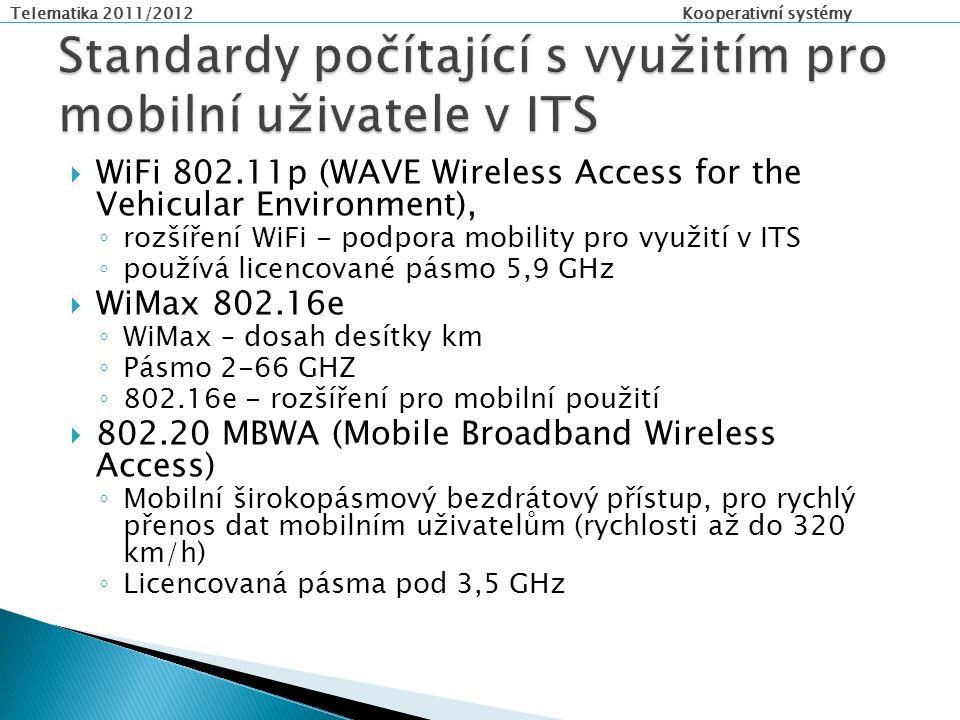 Telematika 2011/2012 Kooperativní systémy  WiFi 802.11p (WAVE Wireless Access for the Vehicular Environment), ◦ rozšíření WiFi - podpora mobility pro využití v ITS ◦ používá licencované pásmo 5,9 GHz  WiMax 802.16e ◦ WiMax – dosah desítky km ◦ Pásmo 2-66 GHZ ◦ 802.16e - rozšíření pro mobilní použití  802.20 MBWA (Mobile Broadband Wireless Access) ◦ Mobilní širokopásmový bezdrátový přístup, pro rychlý přenos dat mobilním uživatelům (rychlosti až do 320 km/h) ◦ Licencovaná pásma pod 3,5 GHz
