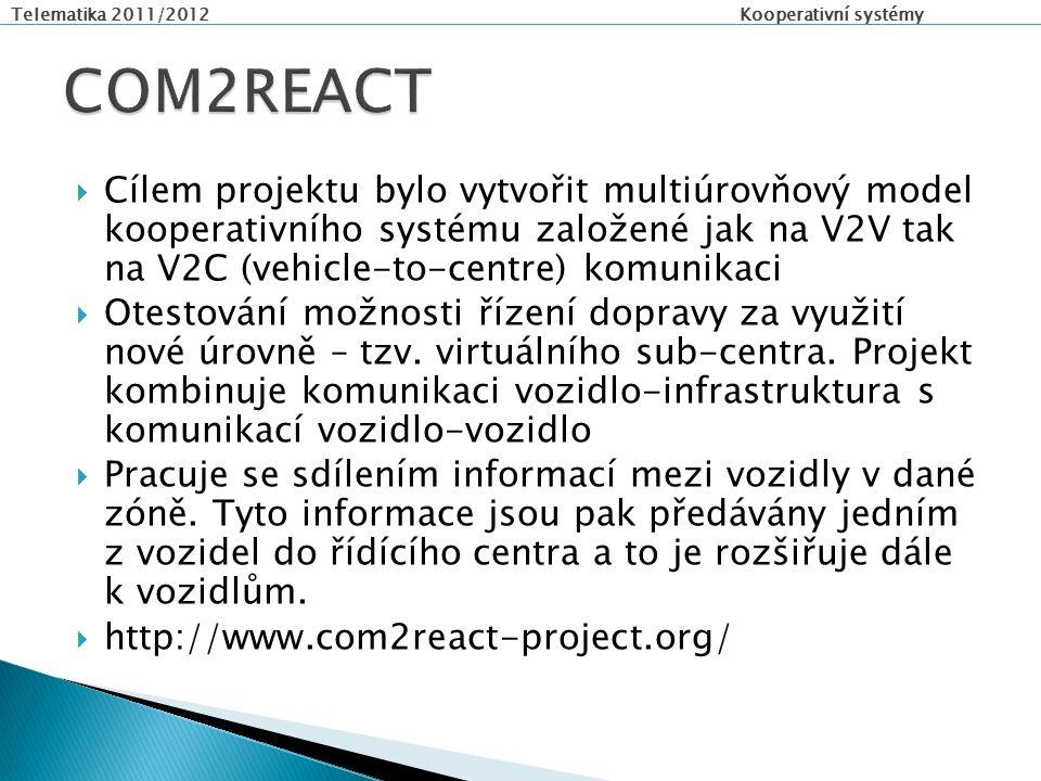 Telematika 2011/2012 Kooperativní systémy  Cílem projektu bylo vytvořit multiúrovňový model kooperativního systému založené jak na V2V tak na V2C (vehicle-to-centre) komunikaci  Otestování možnosti řízení dopravy za využití nové úrovně – tzv.