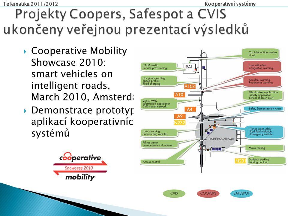Telematika 2011/2012 Kooperativní systémy  Cooperative Mobility Showcase 2010: smart vehicles on intelligent roads, March 2010, Amsterdam  Demonstrace prototypů aplikací kooperativních systémů