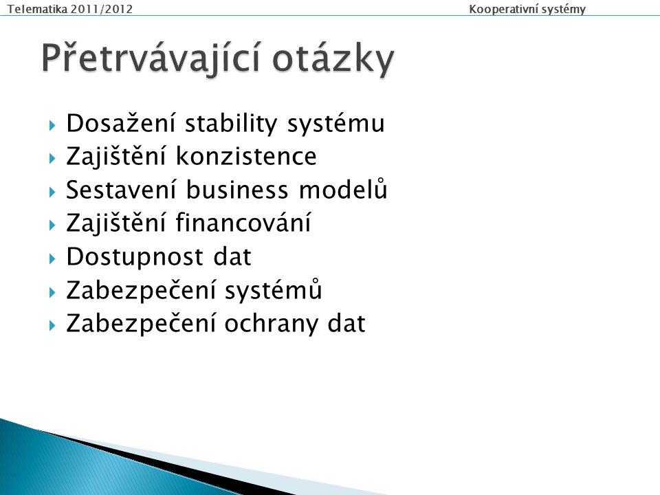 Telematika 2011/2012 Kooperativní systémy  Dosažení stability systému  Zajištění konzistence  Sestavení business modelů  Zajištění financování  Dostupnost dat  Zabezpečení systémů  Zabezpečení ochrany dat