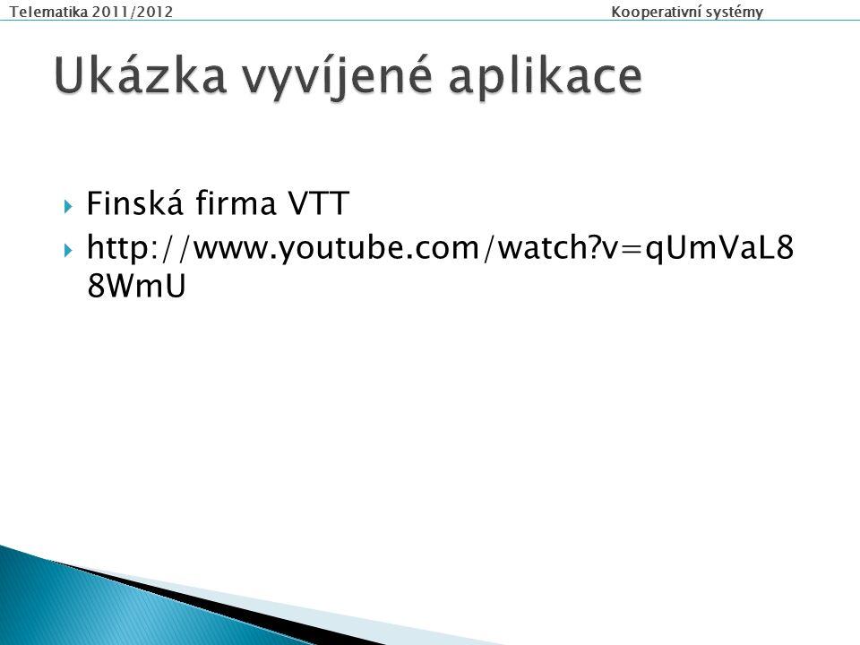 Telematika 2011/2012 Kooperativní systémy  Finská firma VTT  http://www.youtube.com/watch v=qUmVaL8 8WmU