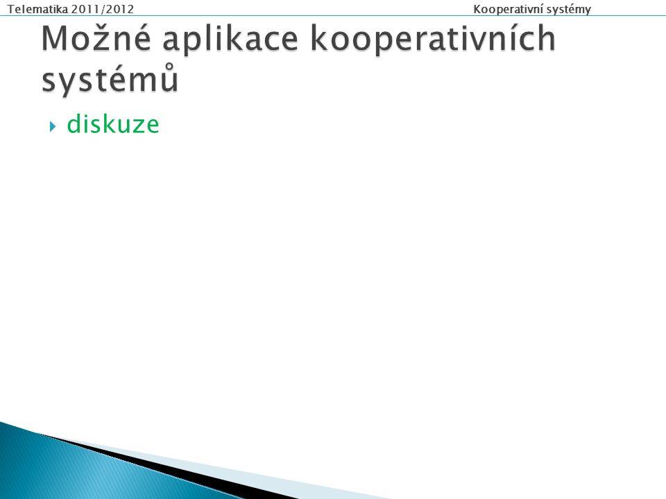Telematika 2011/2012 Kooperativní systémy  Interní senzory  Měření vzdálenosti  Video systém  Monitorování stavu řidiče  Z infrastruktury  Z komunikace vozidlo – vozidlo  Z řídicích dopravních systémů