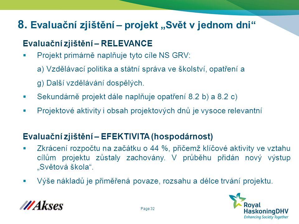 """Page 32 8. Evaluační zjištění – projekt """"Svět v jednom dni"""" Evaluační zjištění – RELEVANCE  Projekt primárně naplňuje tyto cíle NS GRV: a) Vzdělávací"""