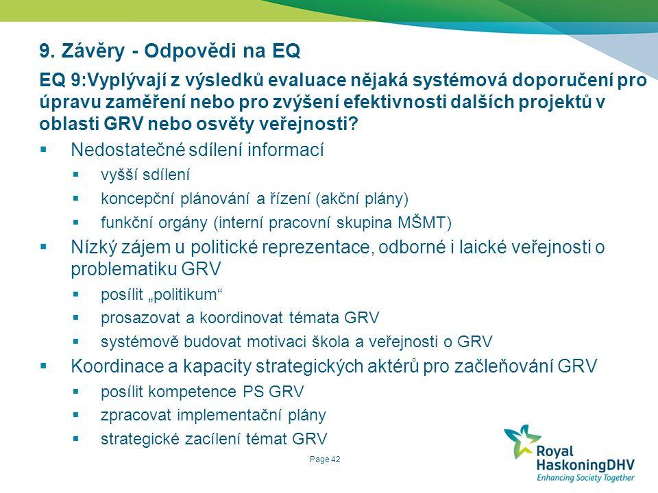 Page 42 9. Závěry - Odpovědi na EQ EQ 9:Vyplývají z výsledků evaluace nějaká systémová doporučení pro úpravu zaměření nebo pro zvýšení efektivnosti da