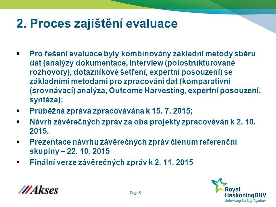 Page 5 2. Proces zajištění evaluace  Pro řešení evaluace byly kombinovány základní metody sběru dat (analýzy dokumentace, interview (polostrukturovan