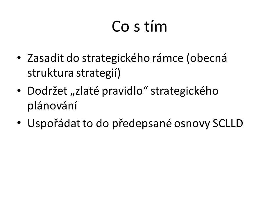 """Co s tím Zasadit do strategického rámce (obecná struktura strategií) Dodržet """"zlaté pravidlo strategického plánování Uspořádat to do předepsané osnovy SCLLD"""
