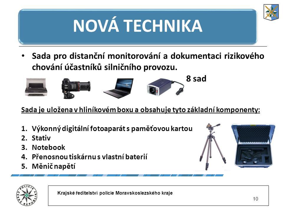 Krajské ředitelství policie Moravskoslezského kraje 10 NOVÁ TECHNIKA Sada pro distanční monitorování a dokumentaci rizikového chování účastníků silnič