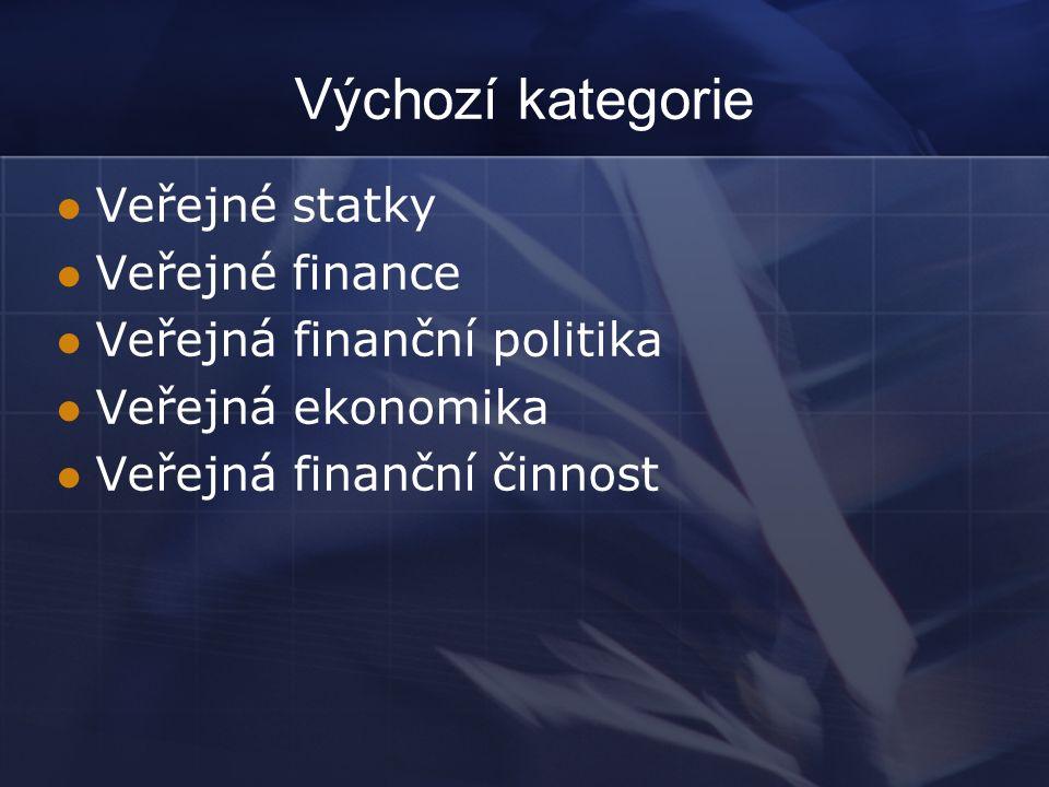 Výchozí kategorie Veřejné statky Veřejné finance Veřejná finanční politika Veřejná ekonomika Veřejná finanční činnost