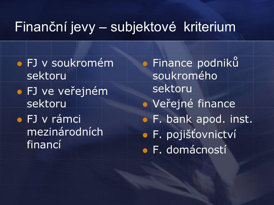 Finanční jevy – subjektové kriterium FJ v soukromém sektoru FJ ve veřejném sektoru FJ v rámci mezinárodních financí Finance podniků soukromého sektoru Veřejné finance F.