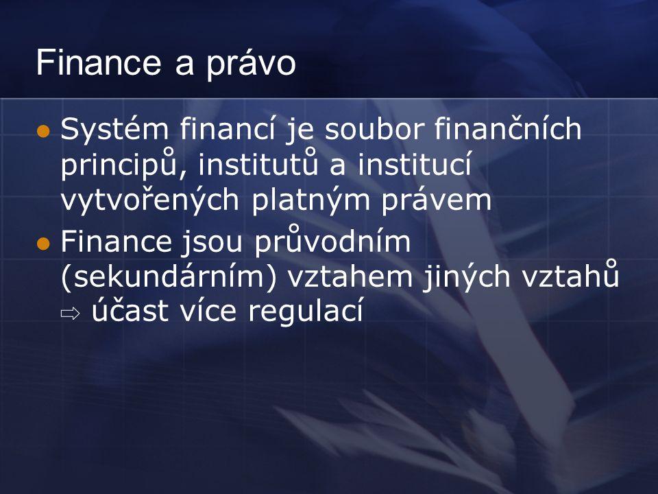Finance a právo Systém financí je soubor finančních principů, institutů a institucí vytvořených platným právem Finance jsou průvodním (sekundárním) vztahem jiných vztahů ⇨ účast více regulací