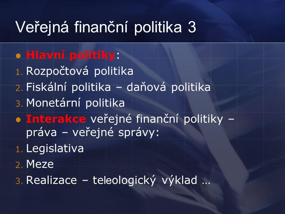 Veřejná finanční politika 3 Hlavní politiky: 1. Rozpočtová politika 2.