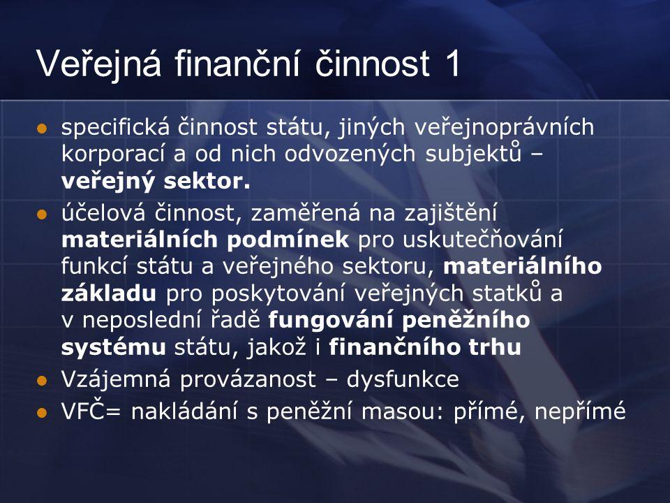 Veřejná finanční činnost 1 specifická činnost státu, jiných veřejnoprávních korporací a od nich odvozených subjektů – veřejný sektor.