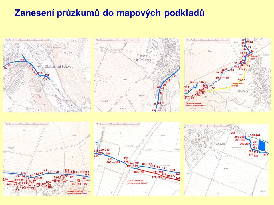 Zanesení průzkumů do mapových podkladů