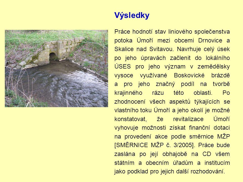 Výsledky Práce hodnotí stav liniového společenstva potoka Úmoří mezi obcemi Drnovice a Skalice nad Svitavou.