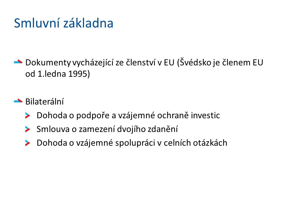Smluvní základna Dokumenty vycházející ze členství v EU (Švédsko je členem EU od 1.ledna 1995) Bilaterální Dohoda o podpoře a vzájemné ochraně investic Smlouva o zamezení dvojího zdanění Dohoda o vzájemné spolupráci v celních otázkách
