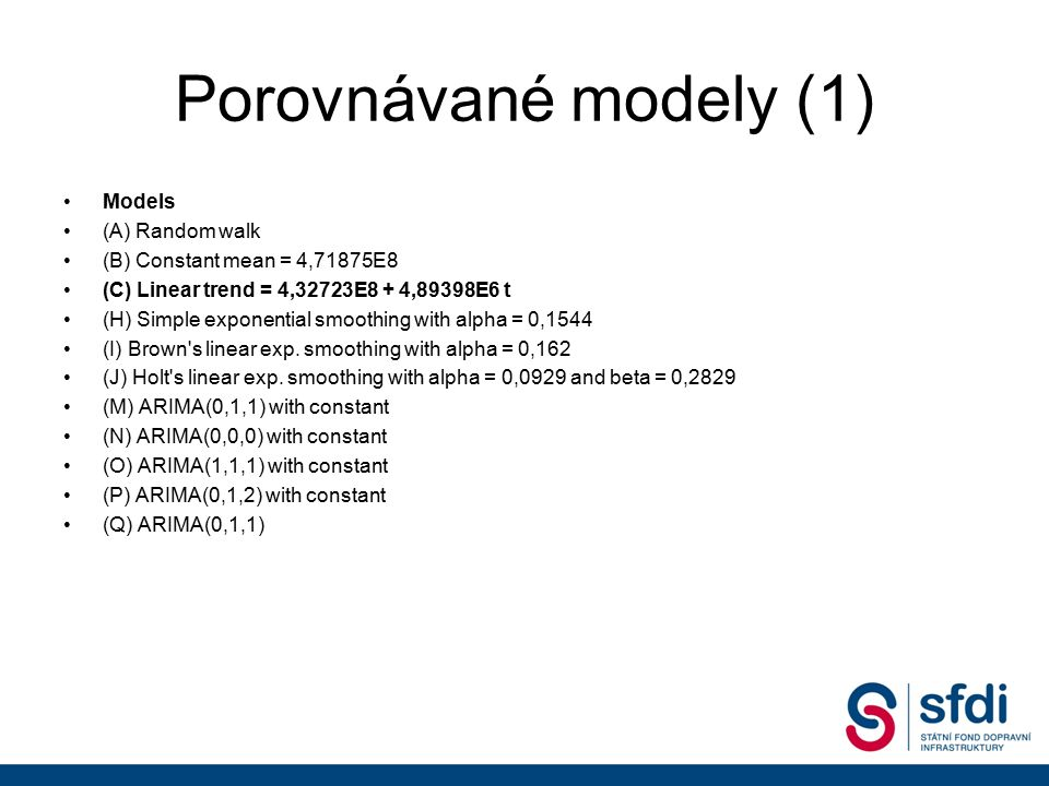 Porovnávané modely (1) Models (A) Random walk (B) Constant mean = 4,71875E8 (C) Linear trend = 4,32723E8 + 4,89398E6 t (H) Simple exponential smoothing with alpha = 0,1544 (I) Brown s linear exp.
