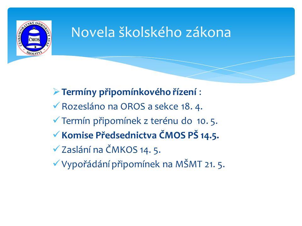  Termíny připomínkového řízení : Rozesláno na OROS a sekce 18.