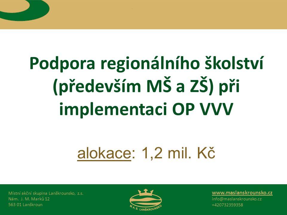 Podpora regionálního školství (především MŠ a ZŠ) při implementaci OP VVV alokace: 1,2 mil.
