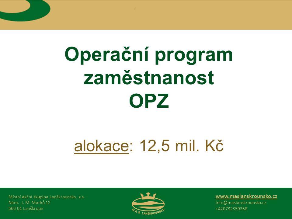 Operační program zaměstnanost OPZ alokace: 12,5 mil.