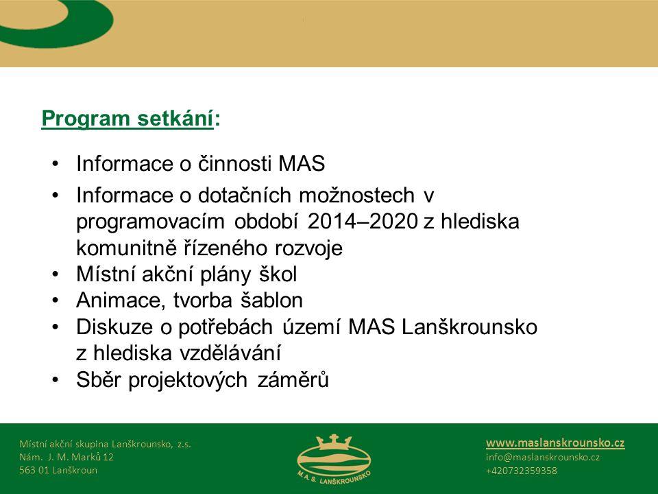 Program setkání: Místní akční skupina Lanškrounsko, z.s.