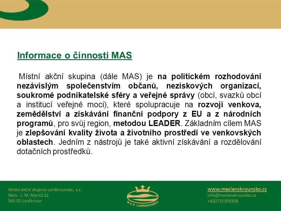 Informace o činnosti MAS Místní akční skupina Lanškrounsko, z.s.