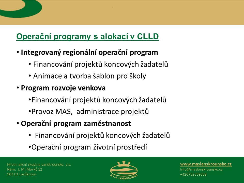 Operační programy s alokací v CLLD Místní akční skupina Lanškrounsko, z.s.