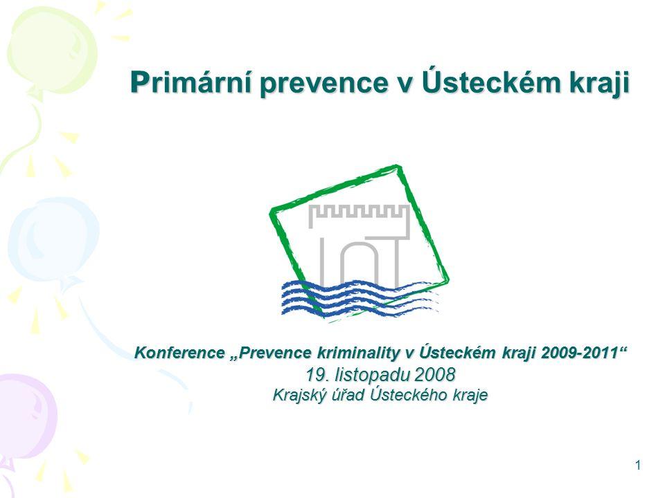 """1 P rimární prevence v Ústeckém kraji Konference """"Prevence kriminality v Ústeckém kraji 2009-2011 19."""