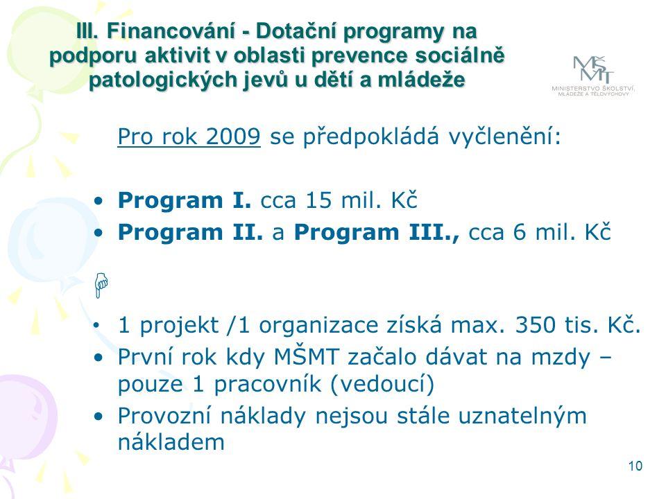 10 III. Financování - Dotační programy na podporu aktivit v oblasti prevence sociálně patologických jevů u dětí a mládeže Pro rok 2009 se předpokládá