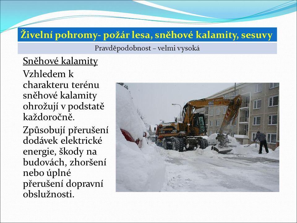 Sněhové kalamity Vzhledem k charakteru terénu sněhové kalamity ohrožují v podstatě každoročně.