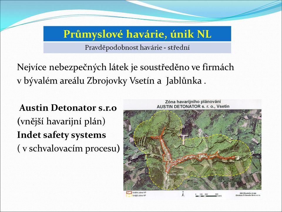Nejvíce nebezpečných látek je soustředěno ve firmách v bývalém areálu Zbrojovky Vsetín a Jablůnka.