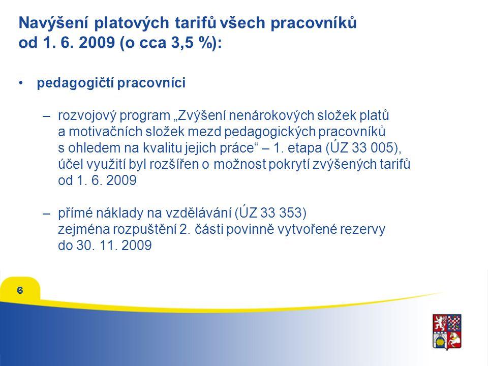 6 Navýšení platových tarifů všech pracovníků od 1.