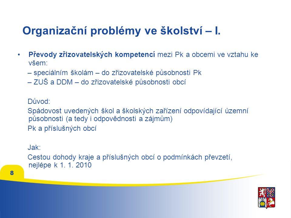 8 Organizační problémy ve školství – I.
