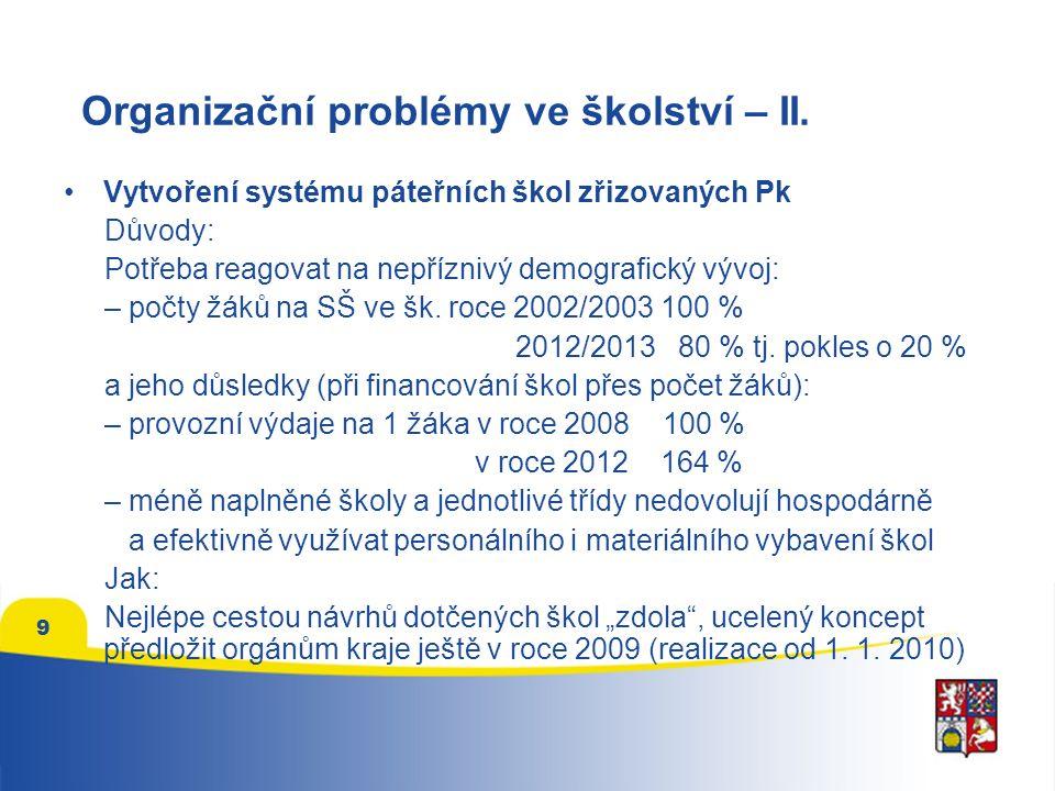 9 Organizační problémy ve školství – II.