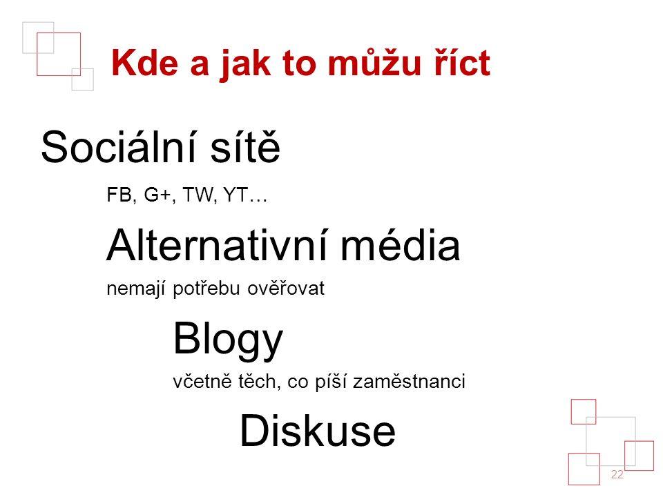 Kde a jak to můžu říct Sociální sítě FB, G+, TW, YT… Alternativní média nemají potřebu ověřovat Blogy včetně těch, co píší zaměstnanci Diskuse 22