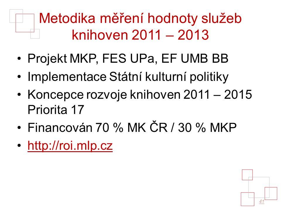 Metodika měření hodnoty služeb knihoven 2011 – 2013 Projekt MKP, FES UPa, EF UMB BB Implementace Státní kulturní politiky Koncepce rozvoje knihoven 2011 – 2015 Priorita 17 Financován 70 % MK ČR / 30 % MKP http://roi.mlp.cz 41