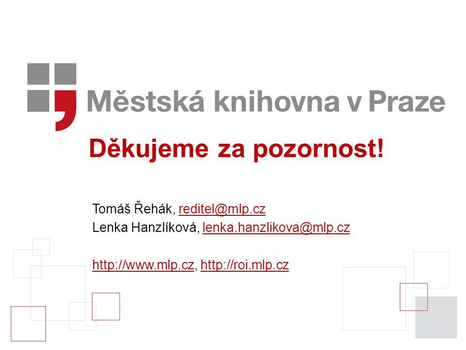 Děkujeme za pozornost! Tomáš Řehák, reditel@mlp.czreditel@mlp.cz Lenka Hanzlíková, lenka.hanzlikova@mlp.czlenka.hanzlikova@mlp.cz http://www.mlp.czhtt