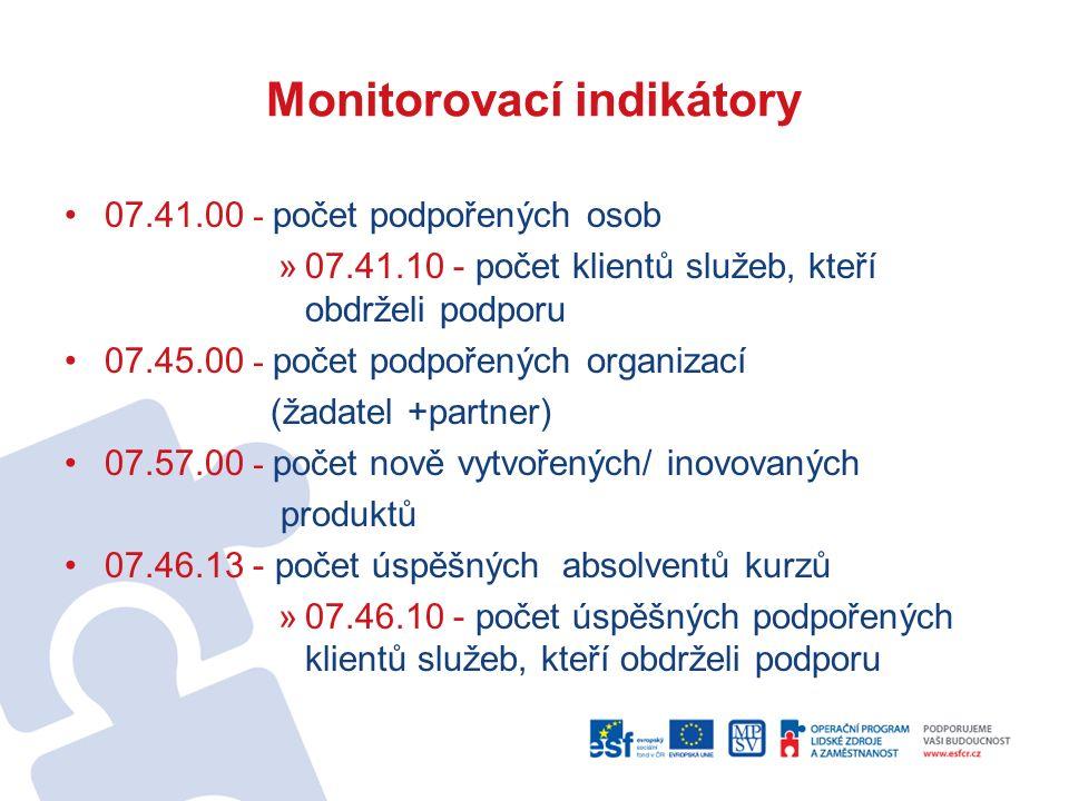 Monitorovací indikátory 07.41.00 - počet podpořených osob »07.41.10 - počet klientů služeb, kteří obdrželi podporu 07.45.00 - počet podpořených organi