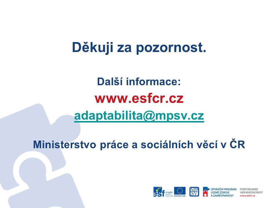 Děkuji za pozornost. Další informace: www.esfcr.cz adaptabilita@mpsv.cz Ministerstvo práce a sociálních věcí v ČR
