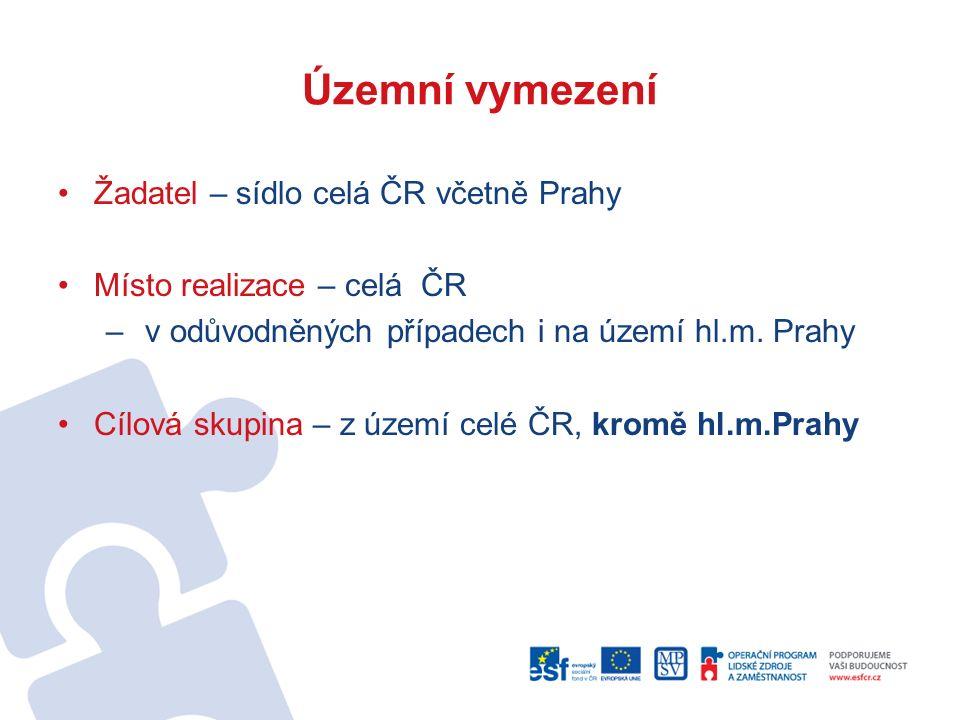 Územní vymezení Žadatel – sídlo celá ČR včetně Prahy Místo realizace – celá ČR – v odůvodněných případech i na území hl.m.