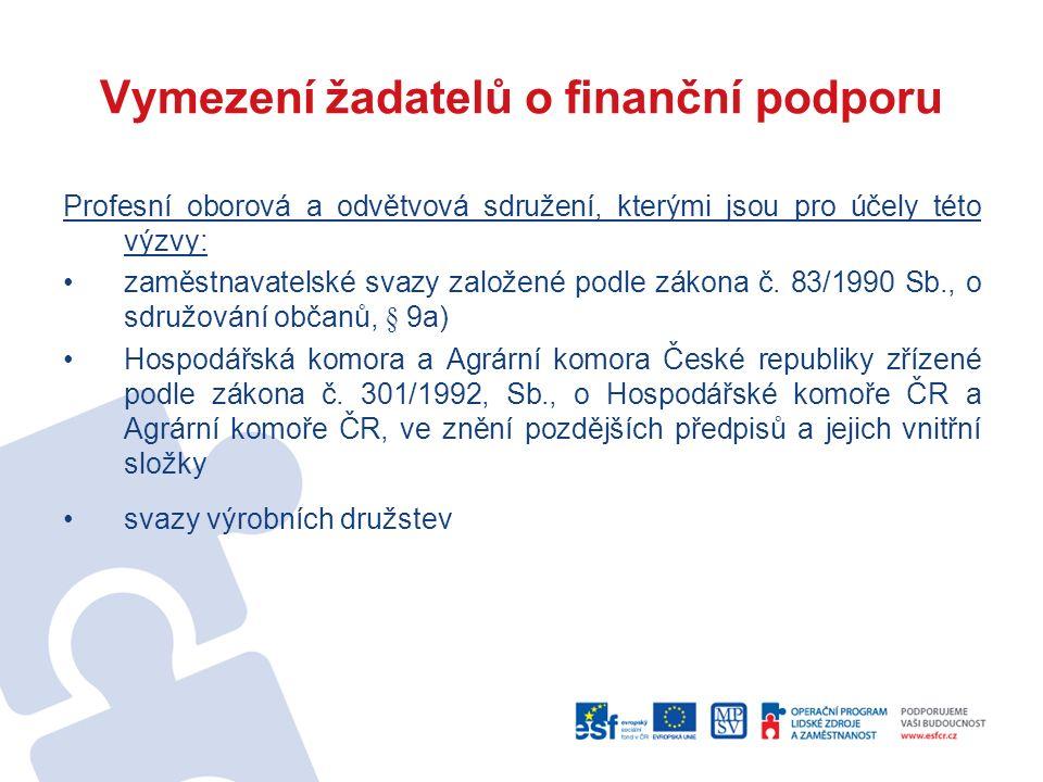 Vymezení žadatelů o finanční podporu Profesní oborová a odvětvová sdružení, kterými jsou pro účely této výzvy: zaměstnavatelské svazy založené podle z