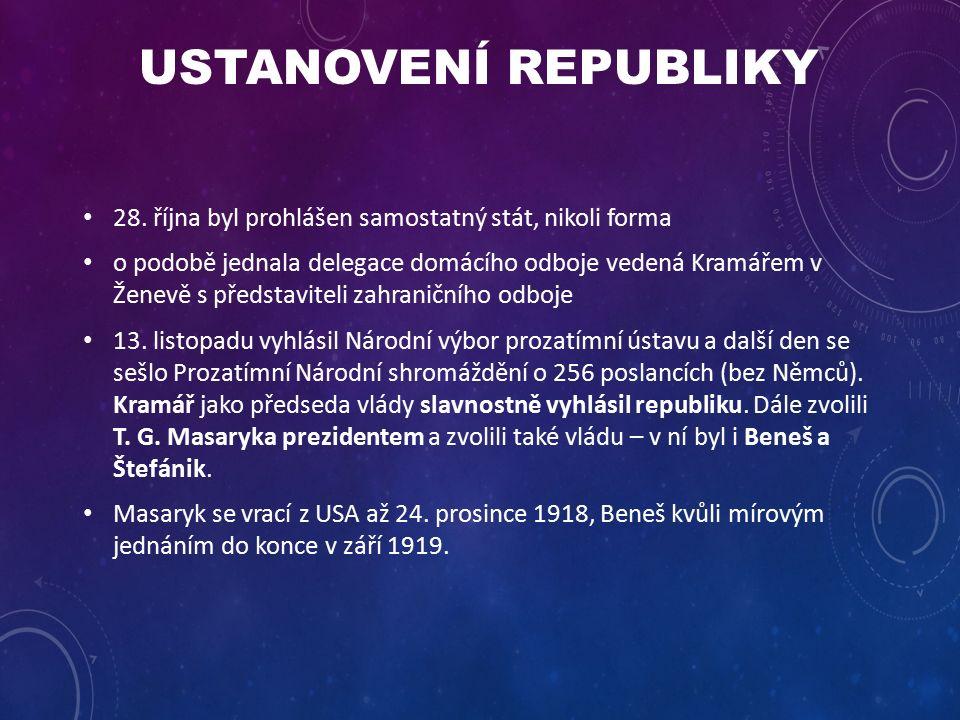 USTANOVENÍ REPUBLIKY 28.