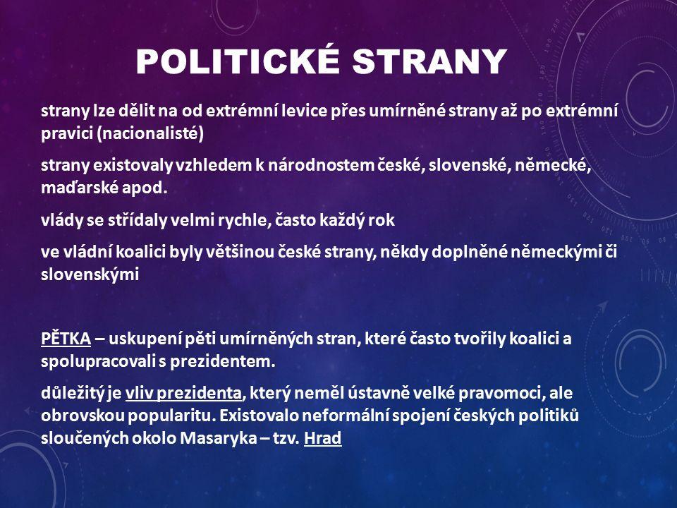 POLITICKÉ STRANY strany lze dělit na od extrémní levice přes umírněné strany až po extrémní pravici (nacionalisté) strany existovaly vzhledem k národnostem české, slovenské, německé, maďarské apod.