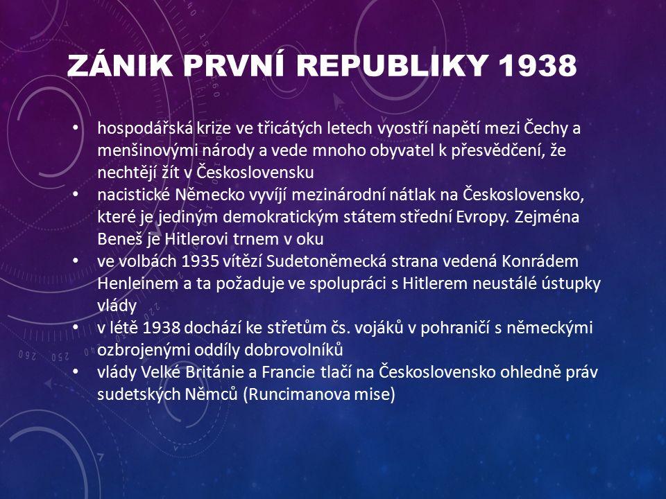 ZÁNIK PRVNÍ REPUBLIKY 1938 hospodářská krize ve třicátých letech vyostří napětí mezi Čechy a menšinovými národy a vede mnoho obyvatel k přesvědčení, že nechtějí žít v Československu nacistické Německo vyvíjí mezinárodní nátlak na Československo, které je jediným demokratickým státem střední Evropy.