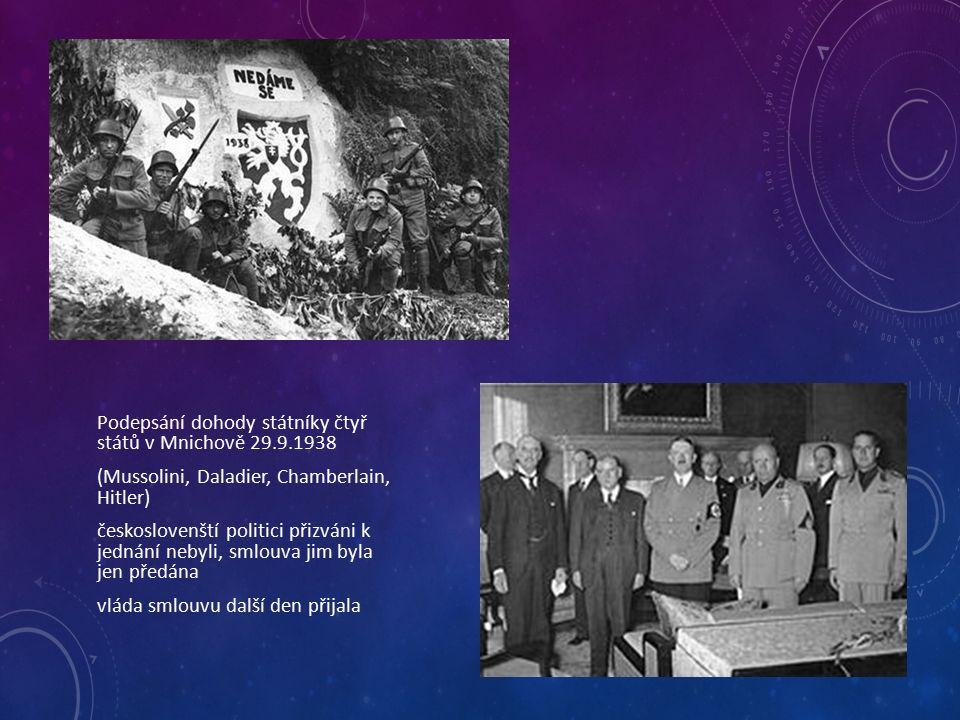 Podepsání dohody státníky čtyř států v Mnichově 29.9.1938 (Mussolini, Daladier, Chamberlain, Hitler) českoslovenští politici přizváni k jednání nebyli, smlouva jim byla jen předána vláda smlouvu další den přijala