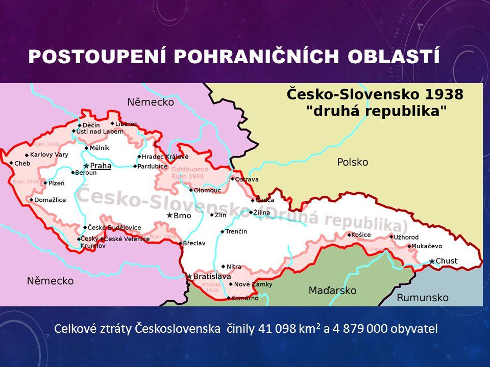 POSTOUPENÍ POHRANIČNÍCH OBLASTÍ Celkové ztráty Československa činily 41 098 km 2 a 4 879 000 obyvatel