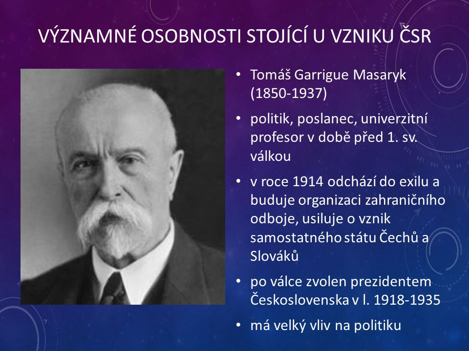 VÝZNAMNÉ OSOBNOSTI STOJÍCÍ U VZNIKU ČSR Tomáš Garrigue Masaryk (1850-1937) politik, poslanec, univerzitní profesor v době před 1.