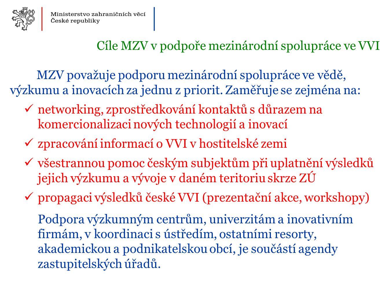MZV považuje podporu mezinárodní spolupráce ve vědě, výzkumu a inovacích za jednu z priorit.