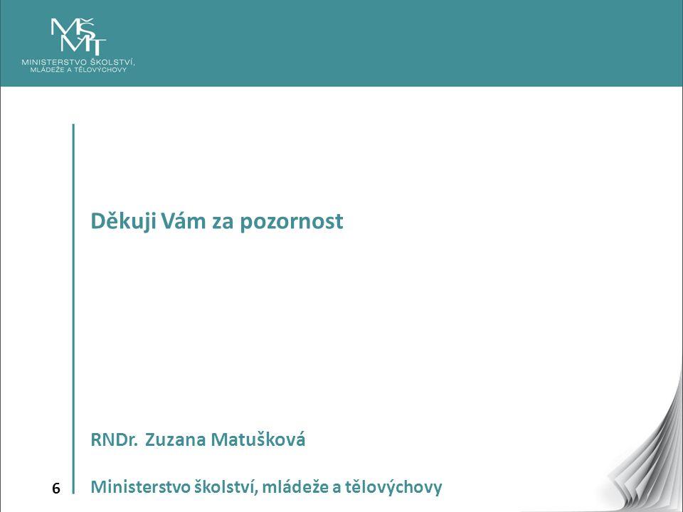6 Děkuji Vám za pozornost RNDr. Zuzana Matušková Ministerstvo školství, mládeže a tělovýchovy