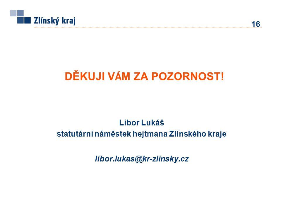 Libor Lukáš statutární náměstek hejtmana Zlínského kraje libor.lukas@kr-zlinsky.cz DĚKUJI V Á M ZA POZORNOST! 16