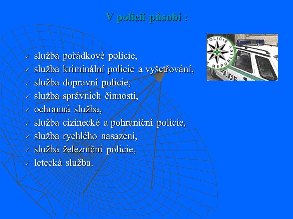 Zákon ČNR č. 283/1991 Sb., o Policii České republiky § 3  policie je podřízena Ministerstvu vnitra  policii tvoří Policejní prezidium ČR, útvary s p